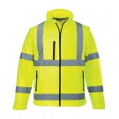 Warnschutz-Softshell Jacke/Weste mit abtrennbaren Ärmel EN ISO 20471:2013 Klasse 3 EN 343 Klasse 3:2-gelb